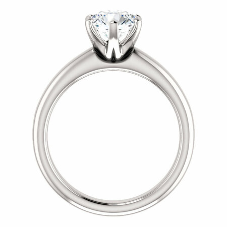 14 KT White Gold 7mm Round Forever Brilliant Moissanite Solitaire Engagement Ring