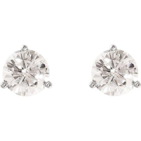 14 KT White Gold 7mm Round Forever Classic Moissanite 3-Prong Stud Earrings