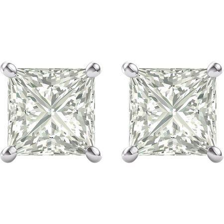 14 KT White Gold 7mm Square Forever Classic Moissanite Earrings