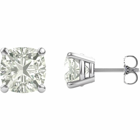 14 KT White Gold 8mm Antique Square Forever Classic Moissanite 4-Prong Stud Earrings