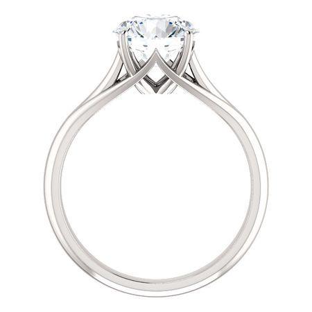 14 KT White Gold 8mm Round Forever Brilliant Moissanite Solitaire Engagement Ring