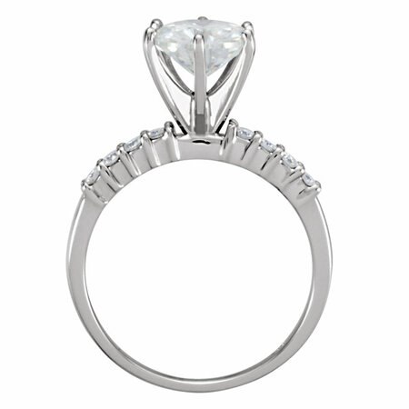 14 KT White Gold 8mm Round Forever Classic Moissanite Accented Engagement Ring