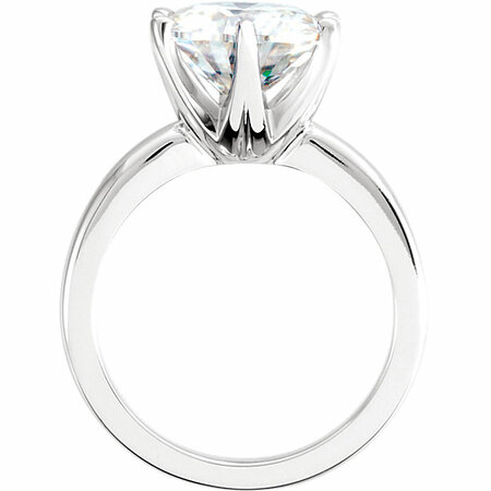 14 KT White Gold 8mm Round Forever Classic Moissanite Solitaire Engagement Ring