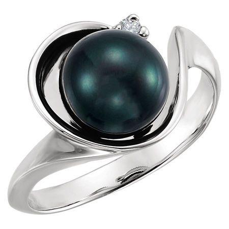 Cultured Akoya Pearl Ring in 14 Karat White Gold Akoya Cultured Pearl & .03 Carat Diamond Ring