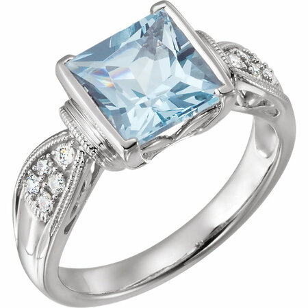 Genuine Aquamarine Ring in 14 Karat White Gold Aquamarine & 1/8 Carat Diamond Ring Size 9
