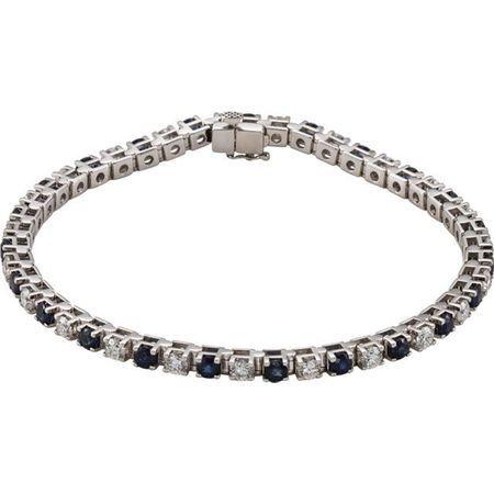 Genuine Sapphire Bracelet in 14 Karat White Gold Genuine Sapphire & 2 0.33 Carat Diamond Bracelet