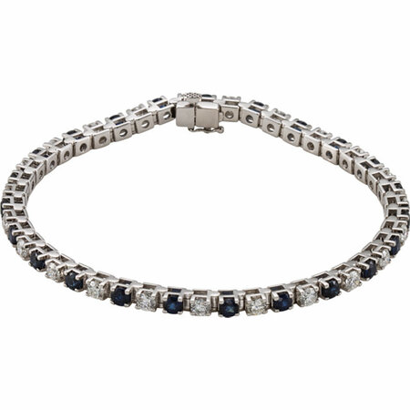 Genuine Sapphire Bracelet in 14 Karat White Gold Genuine Sapphire & 20.33 Carat Diamond Bracelet