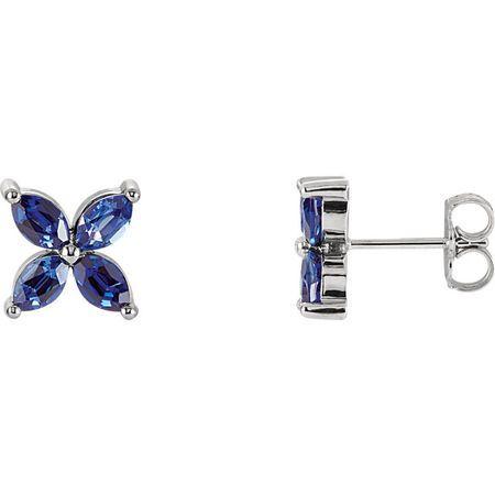 Created Sapphire Earrings in 14 Karat White Gold Chatham Created Created Genuine Sapphire Earrings
