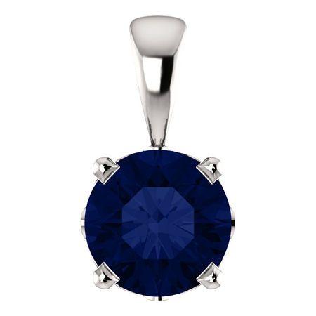 14 Karat White Gold Chatham Round Genuine Blue Sapphire Scroll Setting Pendant
