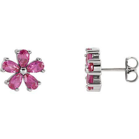 14 Karat White Gold Genuine Chatham Pink Sapphire Earrings