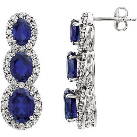 14 Karat White Gold Blue Sapphire & .07 Carat Diamond 3-Stone Earrings