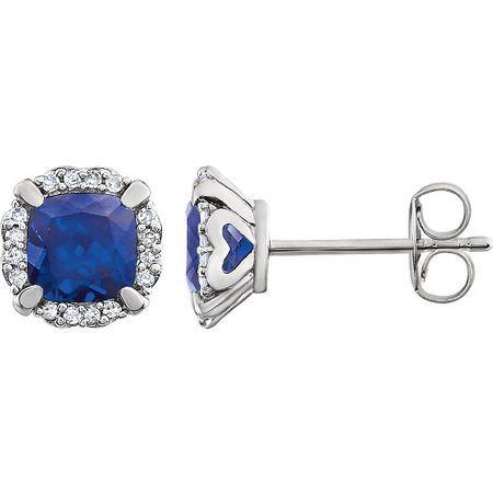 14 Karat White Gold Blue Sapphire & 0.10 Carat Diamond Earrings