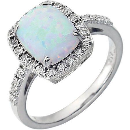 Created Opal Ring in Alluring 14 Karat White Gold Created Cushion Opal & .07 Carat Diamond Ring