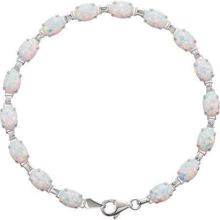 Chatham Opal Bracelet in 14 Karat White Gold Grown Opal Line Bracelet
