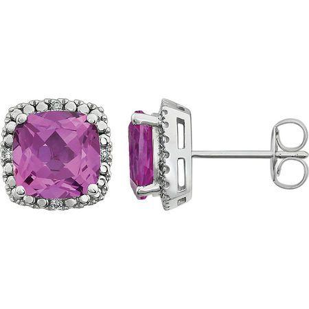 Shop 14 Karat White Gold Pink Sapphire & .06 Carat Diamond Earrings
