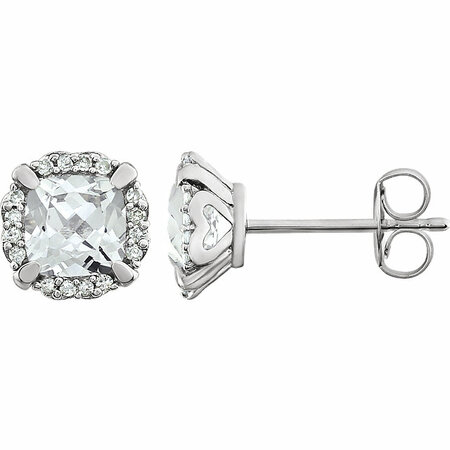 14 Karat White Gold White Sapphire & 0.10 Carat Diamond Earrings
