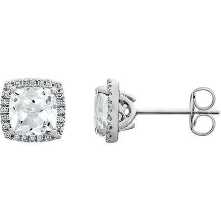 Shop 14 Karat White Gold White Sapphire & 0.12 Carat Diamond Earrings