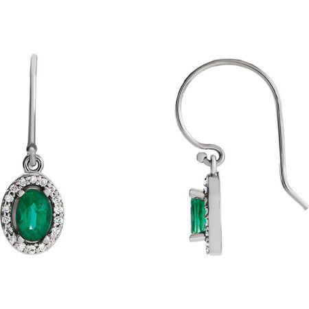 14 Karat White Gold Emerald & 0.20 Carat Diamond Earrings