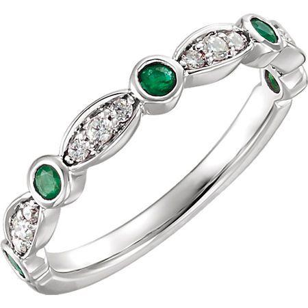 14 Karat White Gold Round Genuine Emerald & 0.17 Carat Diamond Ring
