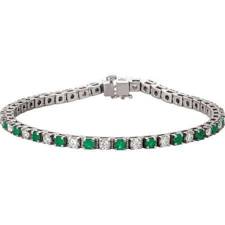 Emerald Bracelet in 14 Karat White Gold Emerald & 2 0.33 Carat Diamond Bracelet