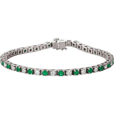 Emerald Bracelet in 14 Karat White Gold Emerald & 20.33 Carat Diamond Bracelet