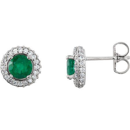 Genuine 14 Karat White Gold Emerald & 0.33 Carat Diamond Earrings