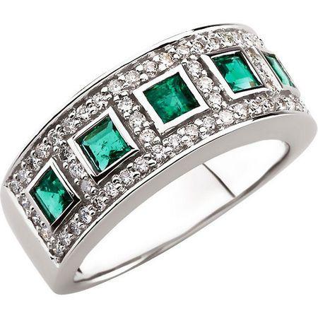 Genuine Emerald Ring in 14 Karat White Gold Emerald & 0.40 Carat Diamond Ring