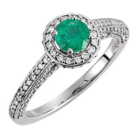 Buy 14 Karat White Gold Emerald & 0.60 Carat Diamond Engagement Ring