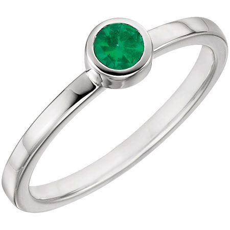 Genuine Emerald Ring in 14 Karat White Gold Emerald Ring