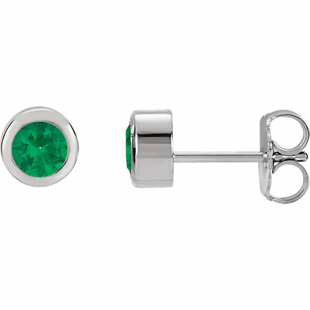 14 Karat White Gold Emerald Earrings