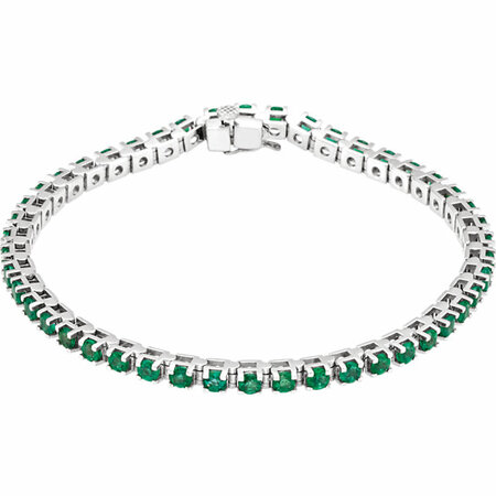 14 Karat White Gold Emerald Line Bracelet