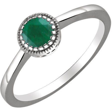 Genuine  14 Karat White Gold Emerald