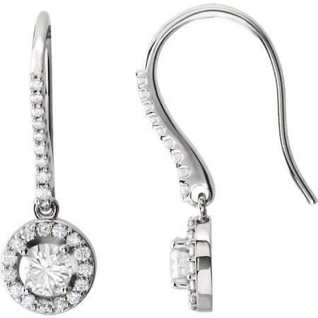 14 KT White Gold Forever Brilliant Moissanite & 3/8 Carat TW Diamond Halo-Style Earrings