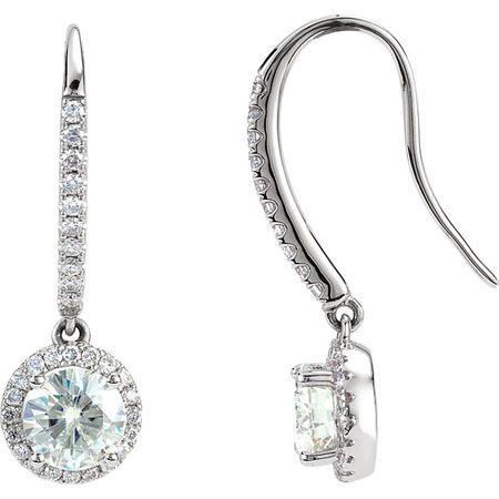 14 KT White Gold Forever Classic Moissanite & 3/8 Carat TW Diamond Halo-Style Earrings