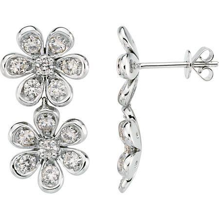 14 KT White Gold Forever Classic Moissanite Flower Earrings