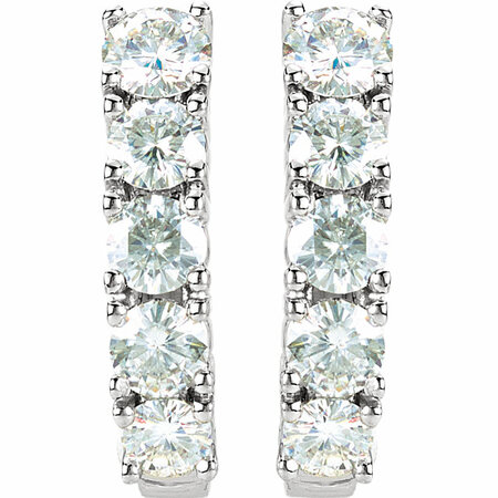 14 KT White Gold Forever Classic Moissanite J-Hoop Earrings