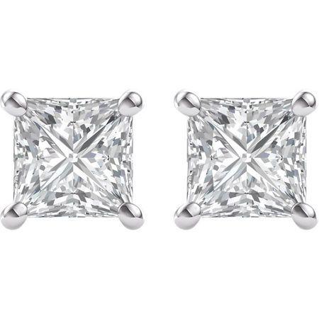 14 KT White Gold mm Square Forever Brilliant Moissanite 4-Prong Stud Earrings
