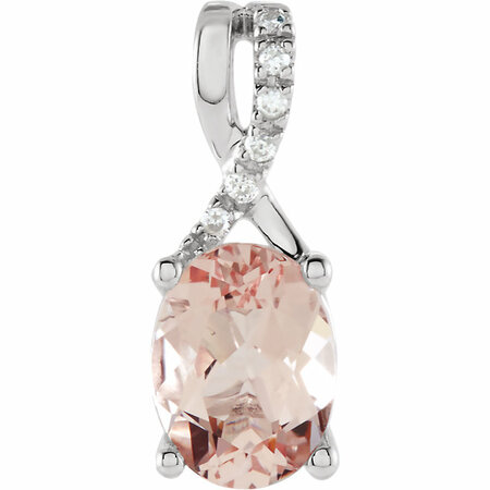 Genuine  14 Karat White Gold Morganite & .03 Carat Diamond Pendant