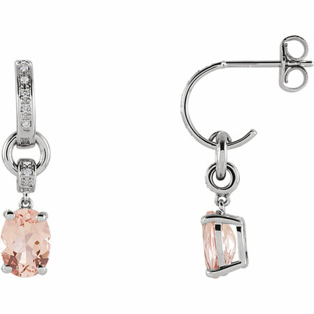 14 Karat White Gold Morganite & .05 Carat Diamond Earrings