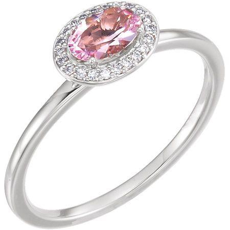 14 Karat White Gold Morganite & .05 Carat Diamond Ring