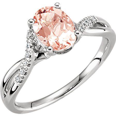 Shop 14 Karat White Gold Morganite & .06 Carat Diamond Ring Size 7