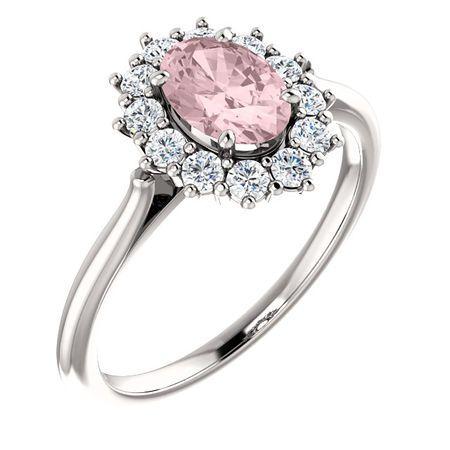 Shop 14 Karat White Gold Morganite & 0.33 Carat Diamond Ring