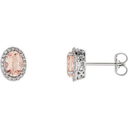14 Karat White Gold Morganite & 0.20 Carat Diamond Earrings