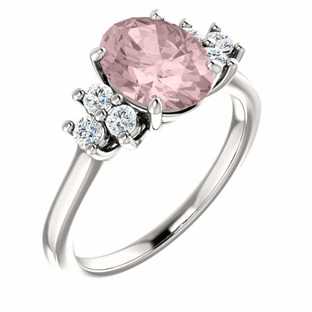 Genuine  14 Karat White Gold Morganite & 0.20 Carat Diamond Ring