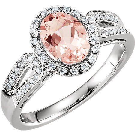 14 Karat White Gold Morganite & 0.20 Carat Diamond Ring