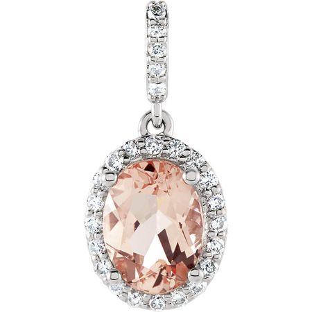 Buy 14 Karat White Gold Morganite & 0.17 Carat Diamond Pendant
