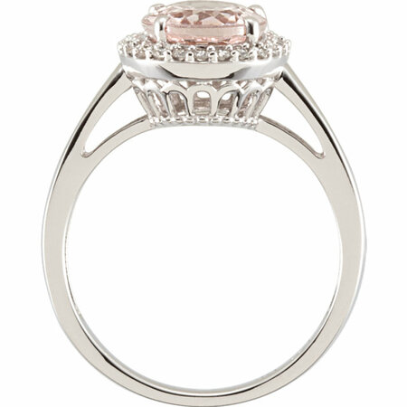 14 KT White Gold Morganite & 1/6 Carat TW Diamond Ring