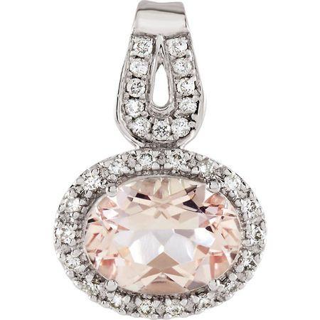 Buy 14 Karat White Gold Morganite & 0.12 Carat Diamond Pendant