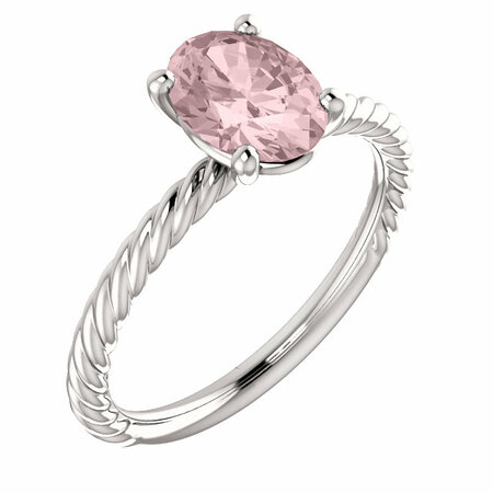 Pink Morganite Ring in 14 Karat White Gold Morganite Ring