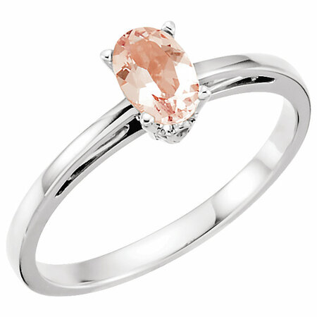 14 Karat White Gold Morganite Ring